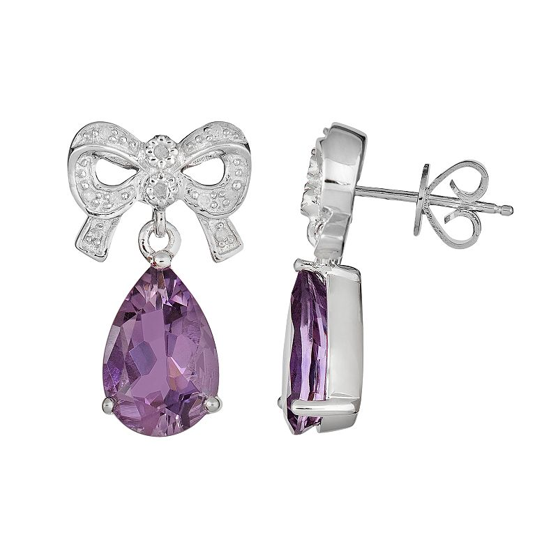 Sterling Silver Amethyst and Diamond Accent Bow Drop Earrings
