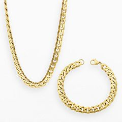 LYNX Yellow Ion-Plated Stainless Steel Curb Chain Necklace & Bracelet Set Men
