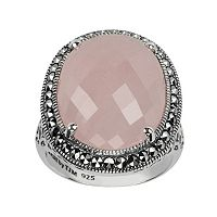 Lavish by TJM Sterling Silver Rose Quartz Halo Ring - Made with Swarovski Marcasite