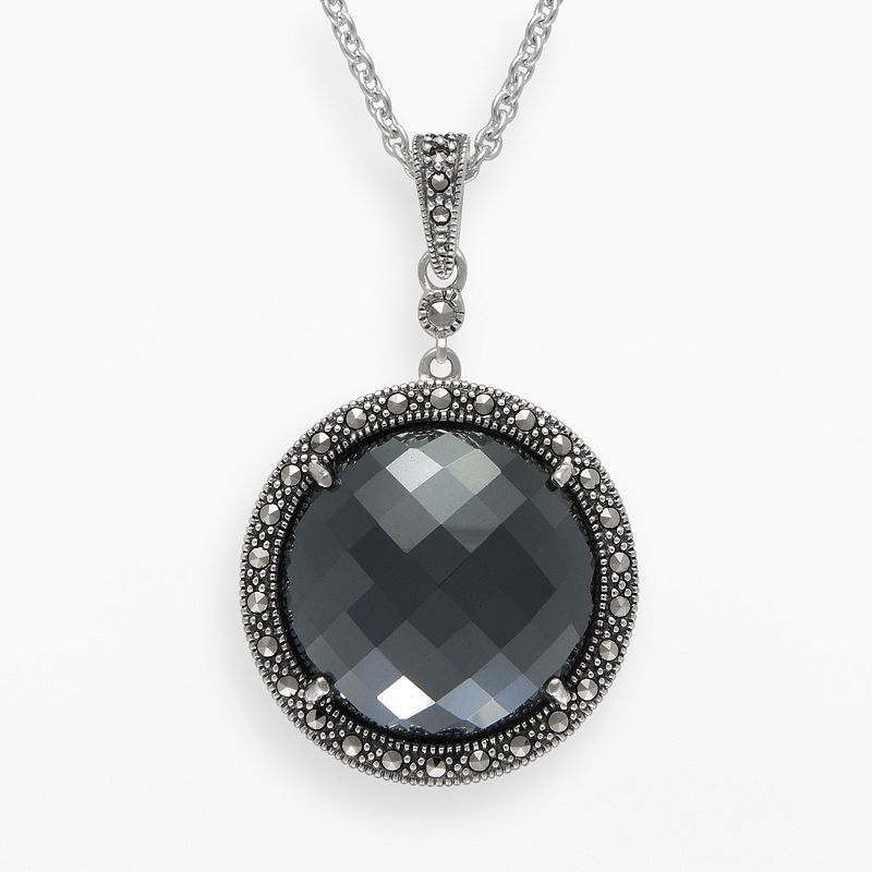Lavish by TJM Sterling Silver Hematite Halo Pendant - Made with Swarovski Marcasite