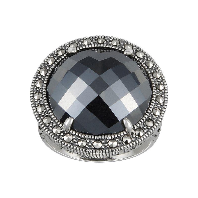 Lavish by TJM Sterling Silver Hematite Halo Ring - Made with Swarovski Marcasite
