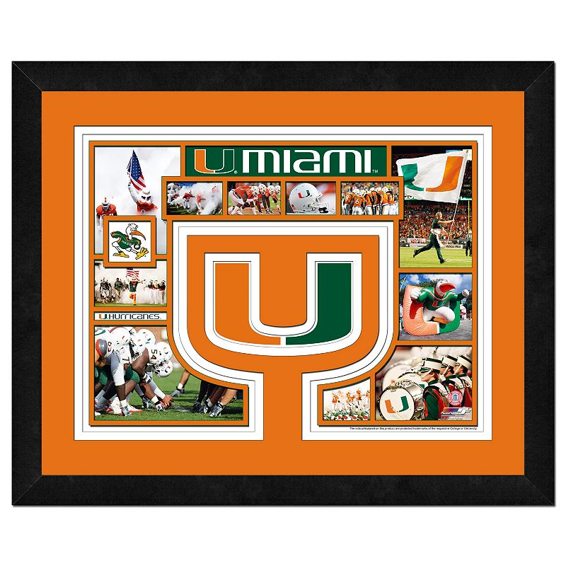 Miami Hurricanes Framed Milestones and Memories 11'' x 14'' Wall Art