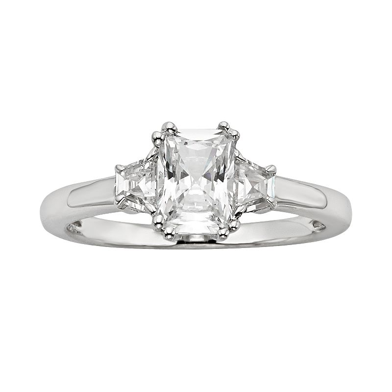 Diamonore Radiant-Cut GGL Certified Simulated Diamond Engagement Ring in Sterling Silver (1 1/2 ct. T.W.)