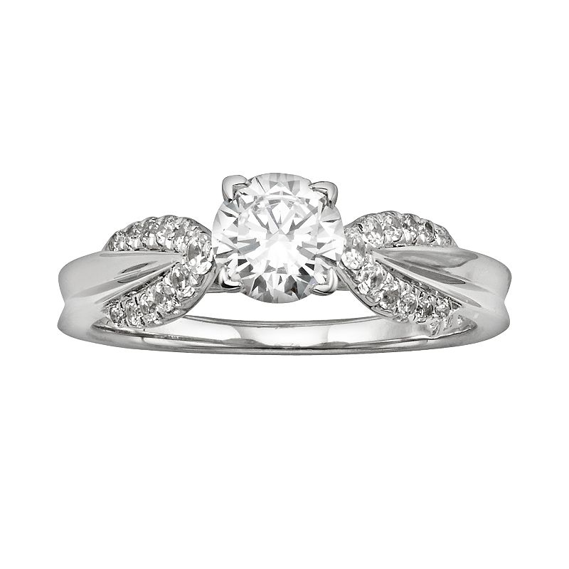 Diamonore Round-Cut GGL Certified Simulated Diamond Engagement Ring in Sterling Silver (1 ct. T.W.)