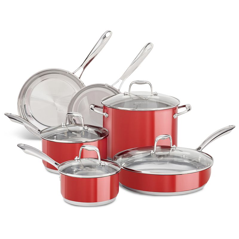 KitchenAid KCSS10 10-pc. Stainless Steel Cookware Set