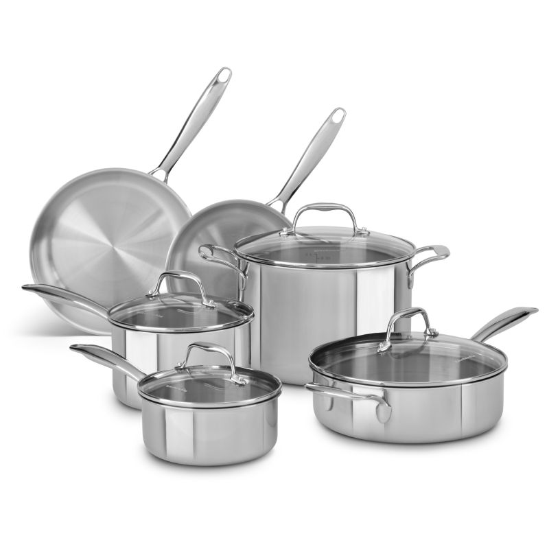simple design kitchenaid 10 pc stainless steel cookware set this room typically