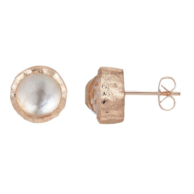 18k Rose Gold Over Silver Mother-of-Pearl Doublet Hammered Stud Earrings