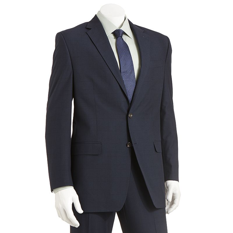 Men's Chaps Classic-Fit Checked Blue Suit Jacket