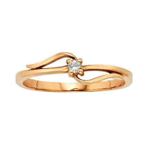 10k Rose Gold Diamond Accent Swirl Ring