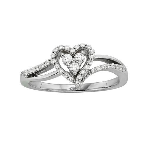 10k White Gold 1/4-ct. T.W. Diamond Heart Ring