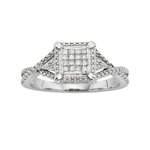 10k White Gold 1/6 ct. T.W. Diamond Crisscross Ring