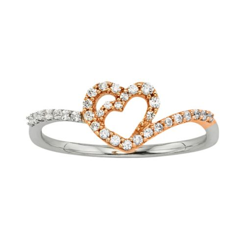 10k White and Rose Gold 1/5-ct. T.W. Diamond Heart Ring