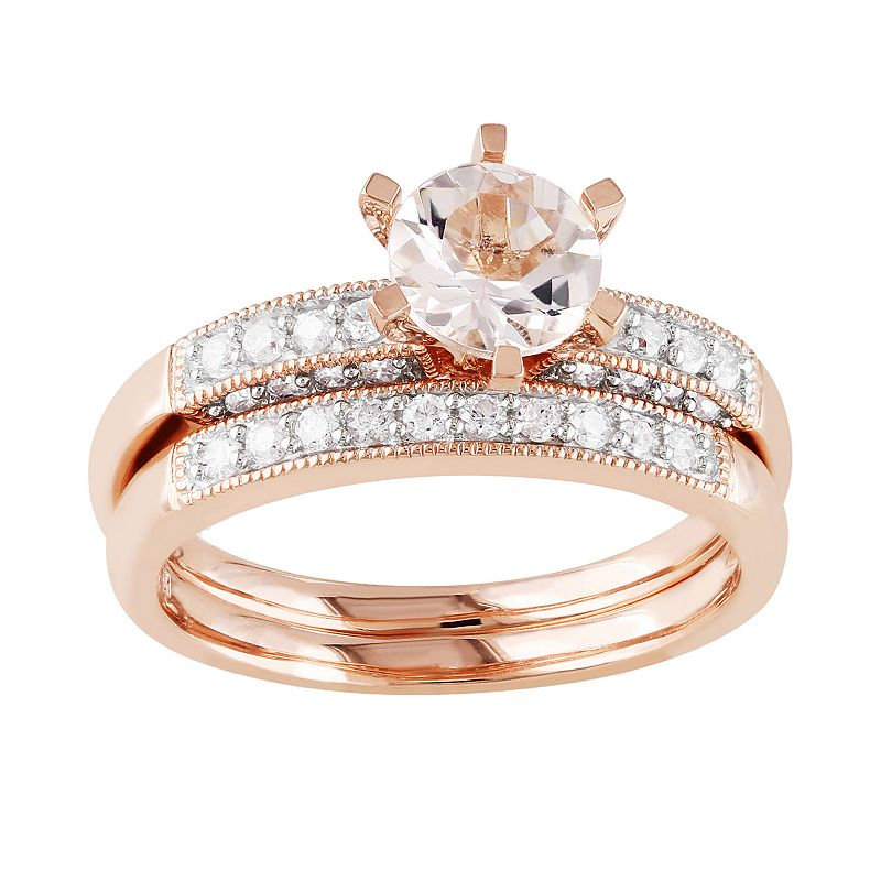 Morganite and Diamond Engagement Ring Set in 10k Rose Gold (1/3-ct. T.W.)