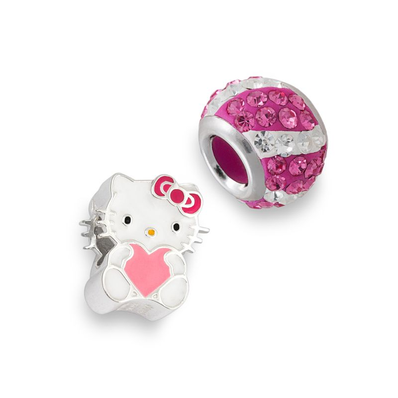 Hello Kitty Sterling Silver Crystal Striped and Heart Bead Set, Women's, Pink