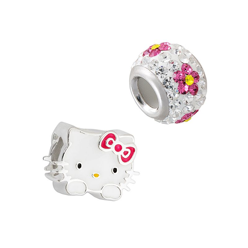 Hello Kitty Sterling Silver Crystal Flower Bead Set, Women's, Pink