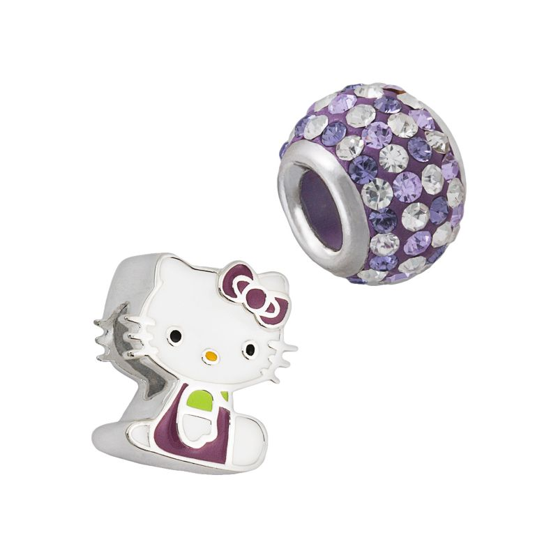 Hello Kitty Sterling Silver Crystal Bead Set, Women's, Purple