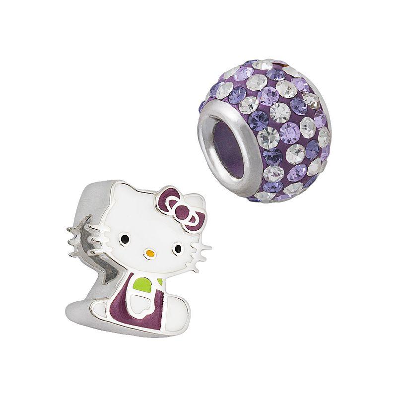 Hello Kitty Sterling Silver Crystal Bead Set, Women's, Purple