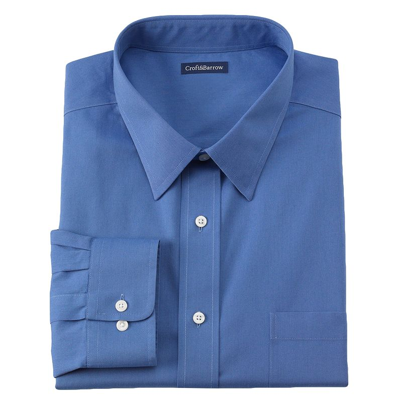 Big & Tall Croft & Barrow® No Iron Point-Collar Button-Down Dress Shirt