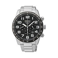 Seiko Men's Stainless Steel Solar Chronograph Watch - SSC229