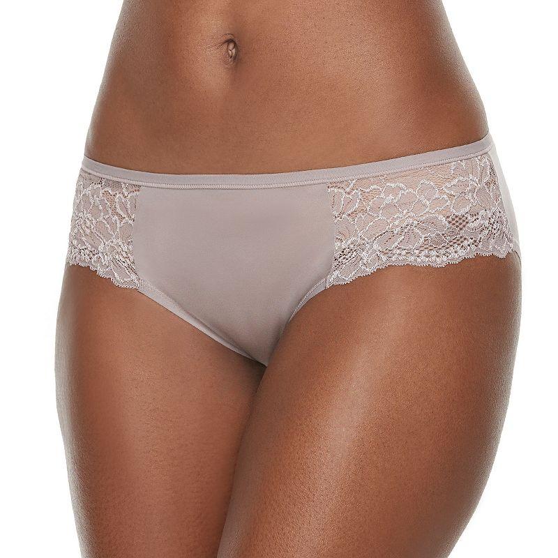 Bali One Smooth U Comfort Indulgence Satin Lace-Trim Bikini Panty 2829 - Women's