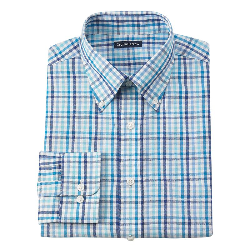 Big & Tall Croft & Barrow® Classic-Fit Checked Easy-Care Button-Down Collar Dress Shirt
