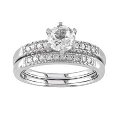 Lab-Created White Sapphire & Diamond Engagement Ring Set in 10k White Gold (1/3 ct. T.W.) by Sapphire Sets
