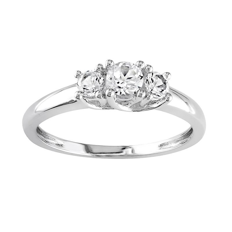 10k White Gold Lab-Created White Sapphire 3-Stone Ring