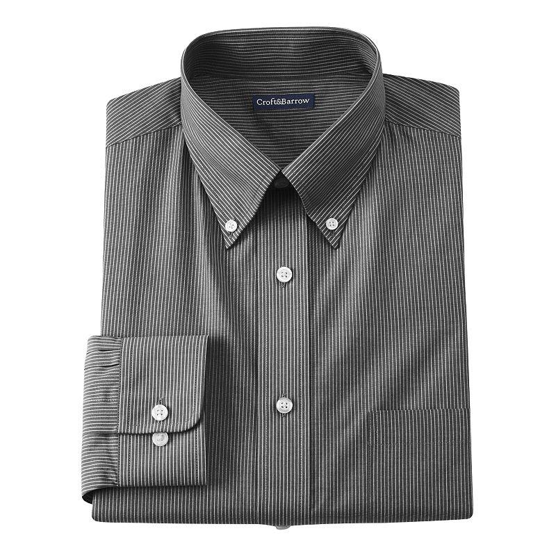 Men's Croft & Barrow® Core Fitted Mini-Striped Broadcloth Button-Down Collar Dress Shirt