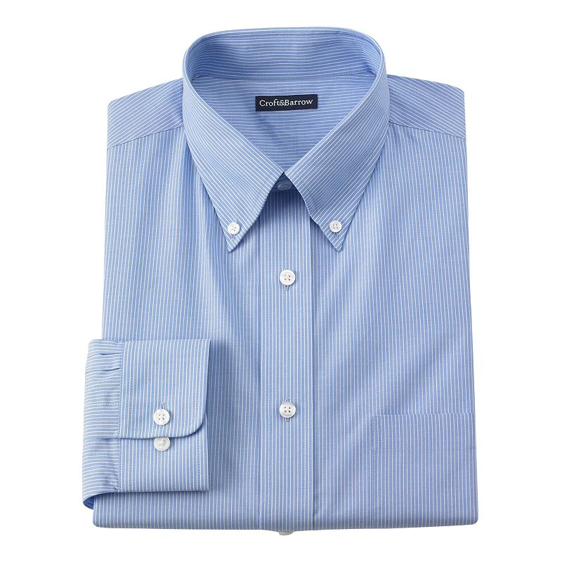 Men's Croft & Barrow® Core Fitted Mini-Striped Broadcloth Button-Down Collar Dress Shirt