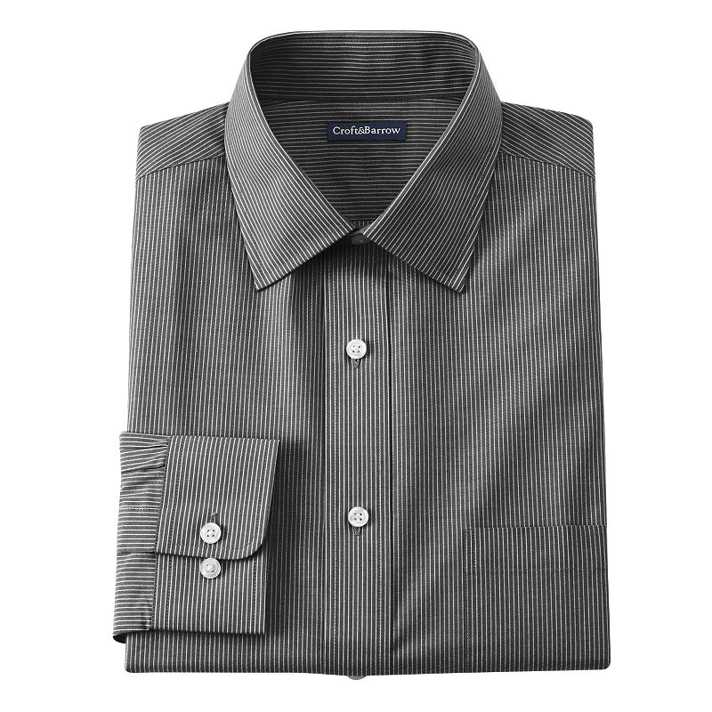 Men's Croft & Barrow® Core Fitted Mini-Striped Broadcloth Spread-Collar Dress Shirt