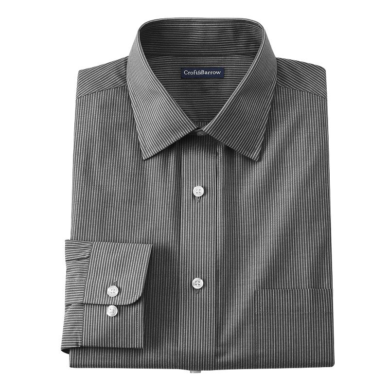 Men's Croft & Barrow® Classic-Fit Mini-Striped Broadcloth Spread-Collar Dress Shirt