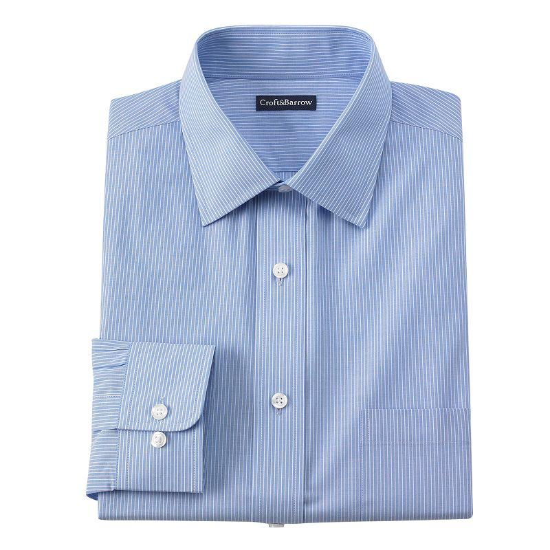 Men's Croft & Barrow® Classic-Fit Mini-Striped Broadcloth Spread-Collar Dress Shirt