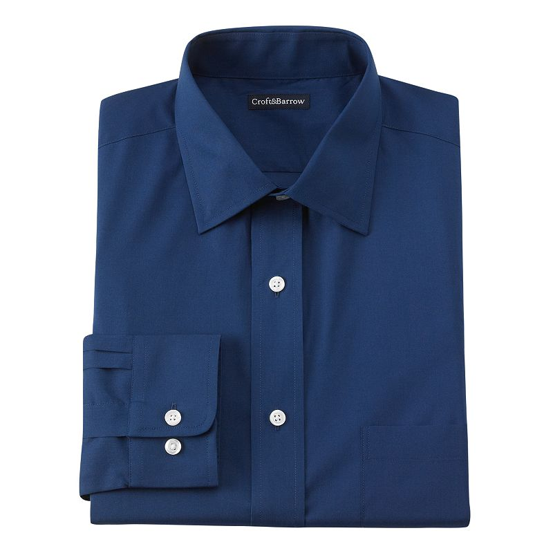 Men's Croft & Barrow® Fitted Solid Broadcloth Dress Shirt