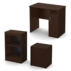 South Shore 3-pc. Axess Small Desk, Storage Bench & 2-Shelf Bookcase Set by