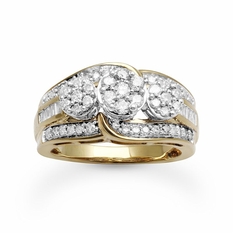 Diamond Swirl Engagement Ring in 10k Gold (1 ct. T.W.)