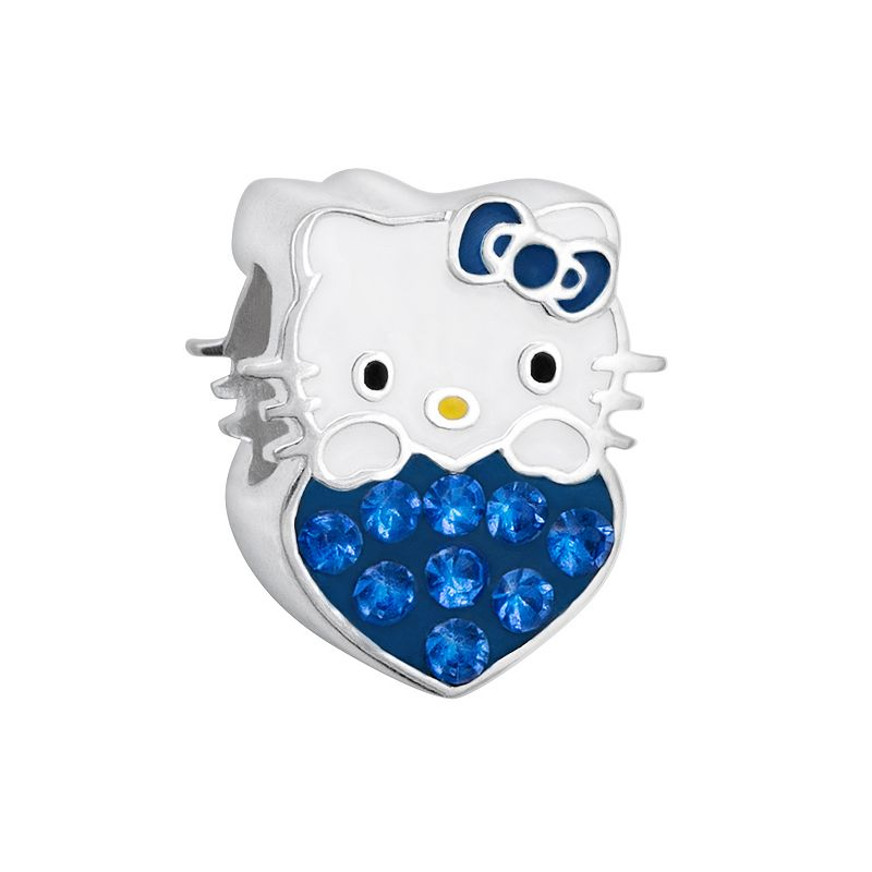 Hello Kitty® Sterling Silver Crystal Birthstone Heart Bead
