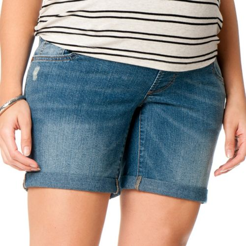 Oh Baby by Motherhood™ Midbelly Cuffed Denim Shorts - Maternity