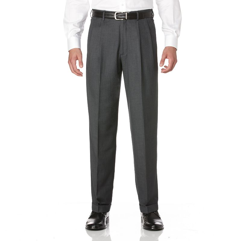 Men's Savane Crosshatch Straight-Fit Easy-Care Pleated Dress Pants