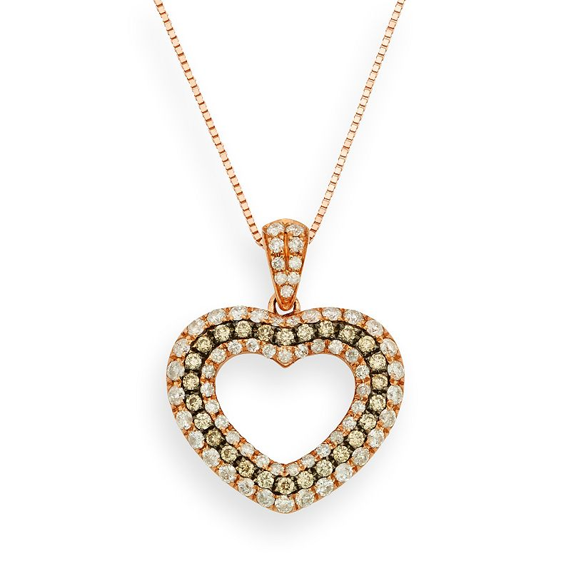 Espresso Natural Color Diamonds 10k Rose Gold 1/2-ct. T.W. Brown and White Diamond Heart Pendant