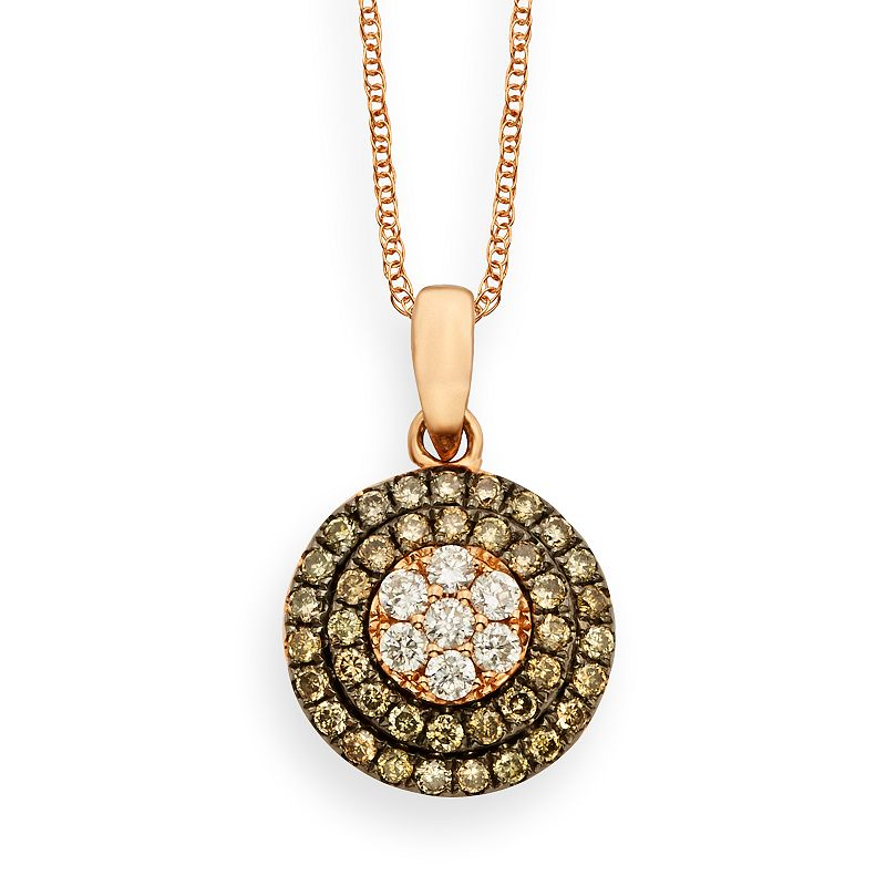 Espresso Natural Color Diamonds 10k Rose Gold 1/2-ct. T.W. Brown and White Diamond Frame Pendant