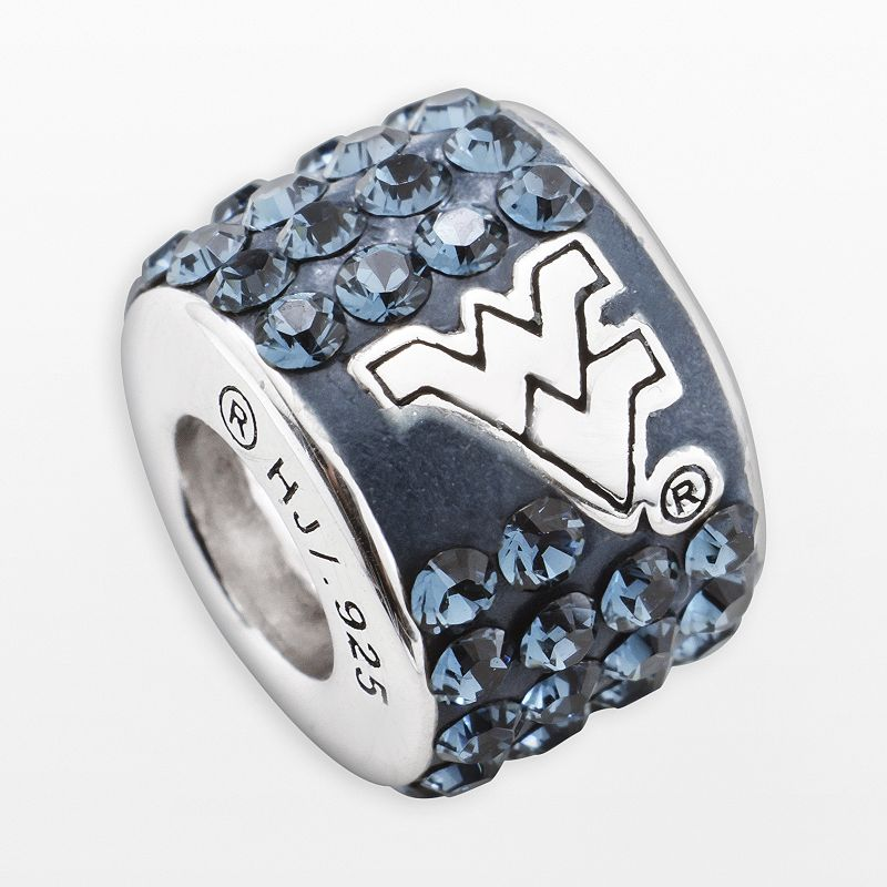 LogoArt West Virginia Mountaineers Sterling Silver Crystal Logo Bead - Made with Swarovski Crystals