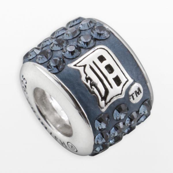 LogoArt Detroit Tigers Sterling Silver Crystal Logo Bead - Made with Swarovski Crystals