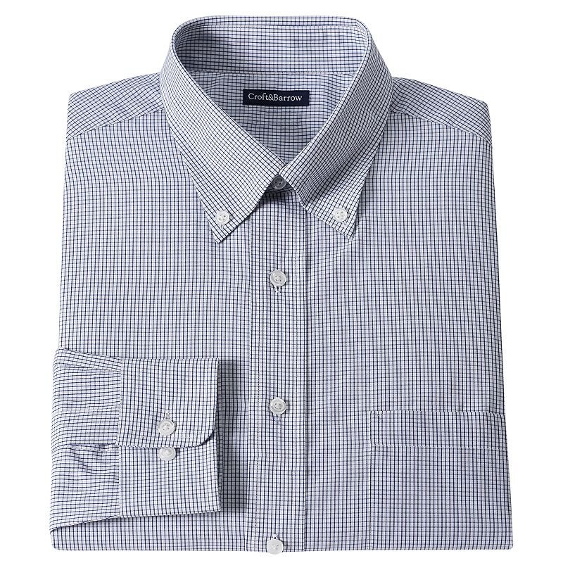Men's Croft & Barrow® Classic-Fit Mini-Grid Dress Shirt