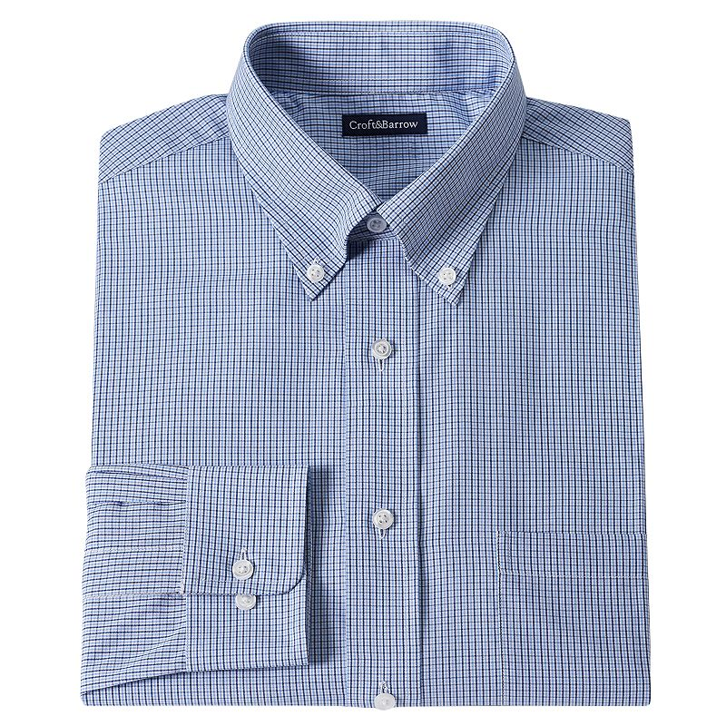 Men's Croft & Barrow® Classic-Fit Checked Dress Shirt