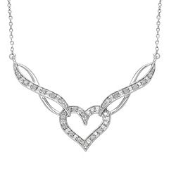 Sterling Silver 1 4-ct. T.W. Diamond Heart & Infinity Link Necklace