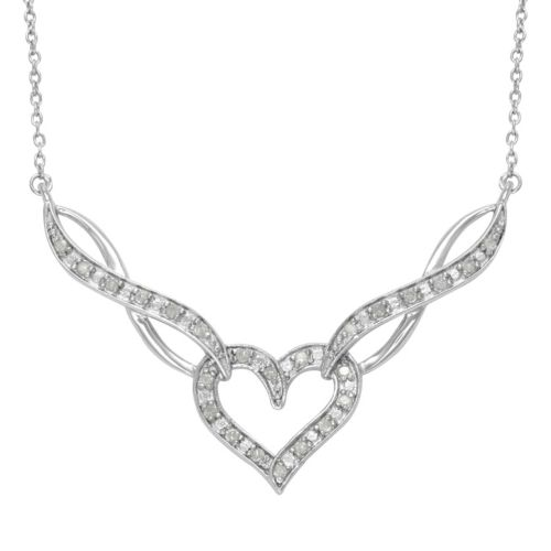 sterling silver 14ct tw diamond heart and infinity