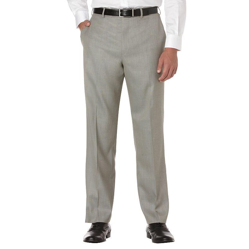 Men's Savane Sharkskin Straight-Fit Flat-Front Dress Pants