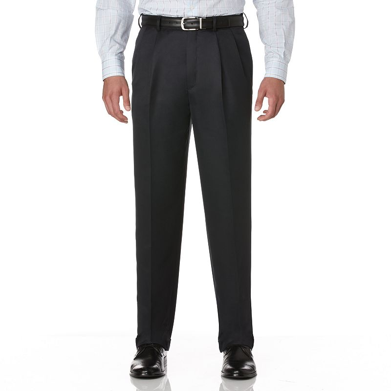 Big & Tall Savane Crosshatch Straight-Fit Easy-Care Pleated Dress Pants