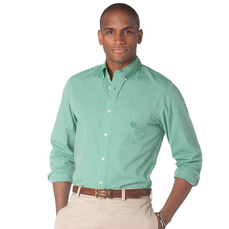 Men's Chaps Fitted Grove Pier End-On-End Easy-Care Casual Button-Down Shirt