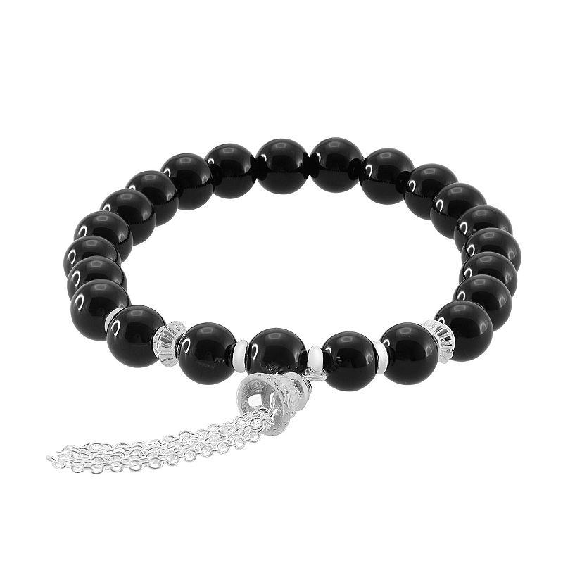 Silver Plate Onyx Bead Stretch Bracelet